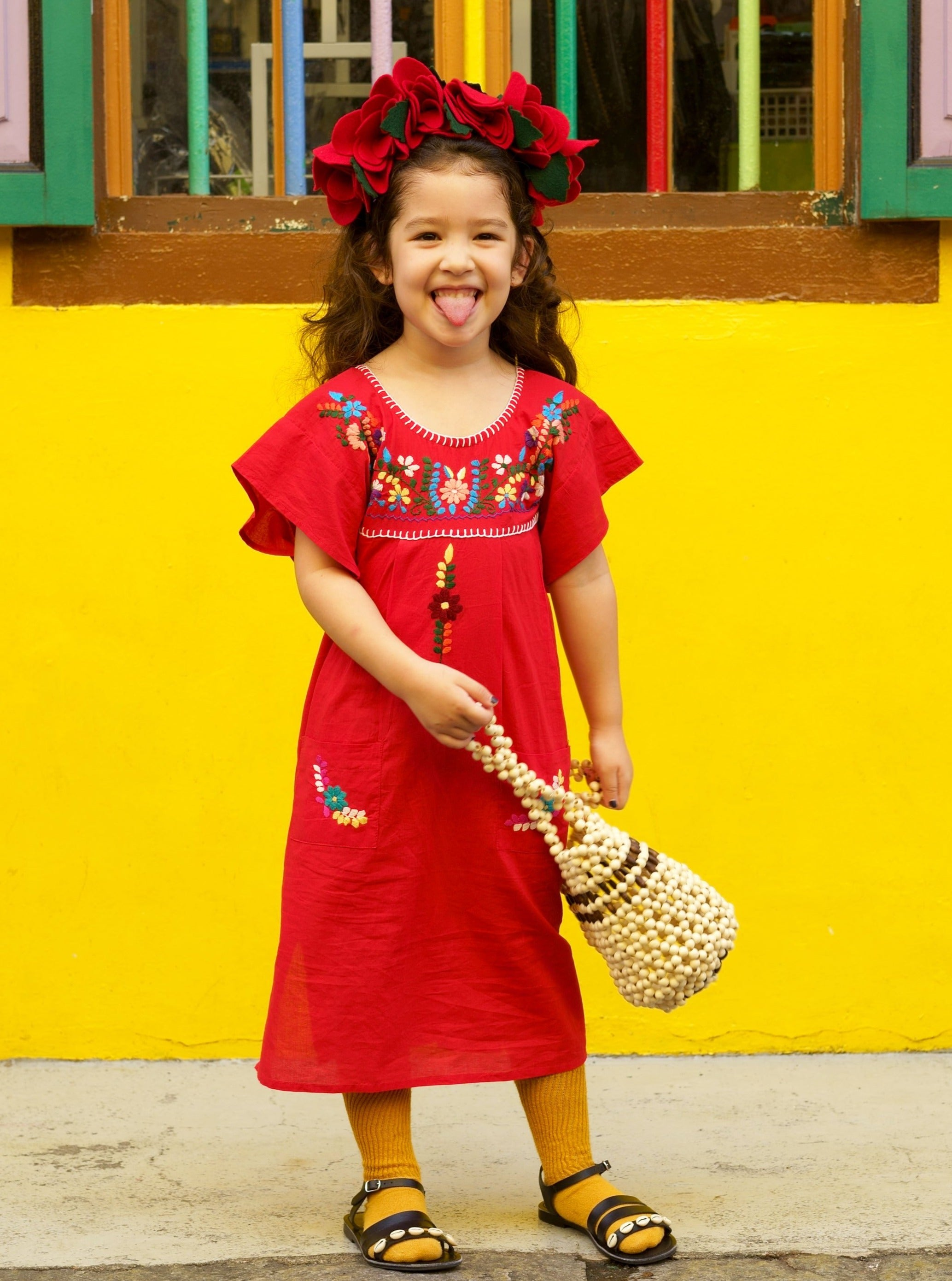 Gabriela Red Mexican Kid's Dress