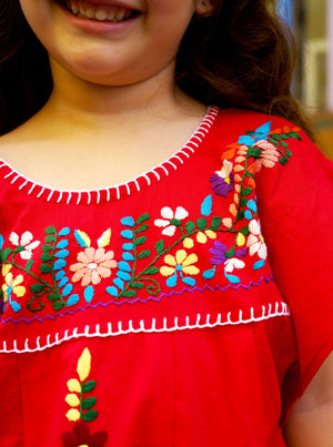 gabriela dress, Jamie-Lee, Kaftan, resort wear, mexican dress, red dress, adult fashion, embroidery, give back, made in india, hand sewn by women, beach dress, ethnic fashion, baebeeboo, shopbaebeeboo, twinning outfit, twinning set, mommy and daughter, kids kaftan, kids dress, mexican kids dress