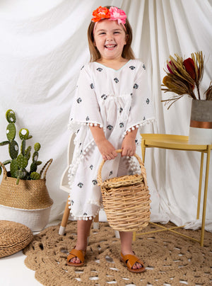 Open image in slideshow, Kaftans, resort wear, kids resort wear, kids, children's wear, children's apparel, kids fashion, Baebeeboo, Isle of Bae, beach wear, beach, children, fashion, tunic, kaftan, cactus, ice cream, eye, shirt, boys, girls, 1-7 years old, holiday, lounge wear, comfortable, social conscious, bohemian, cotton, embroidery.