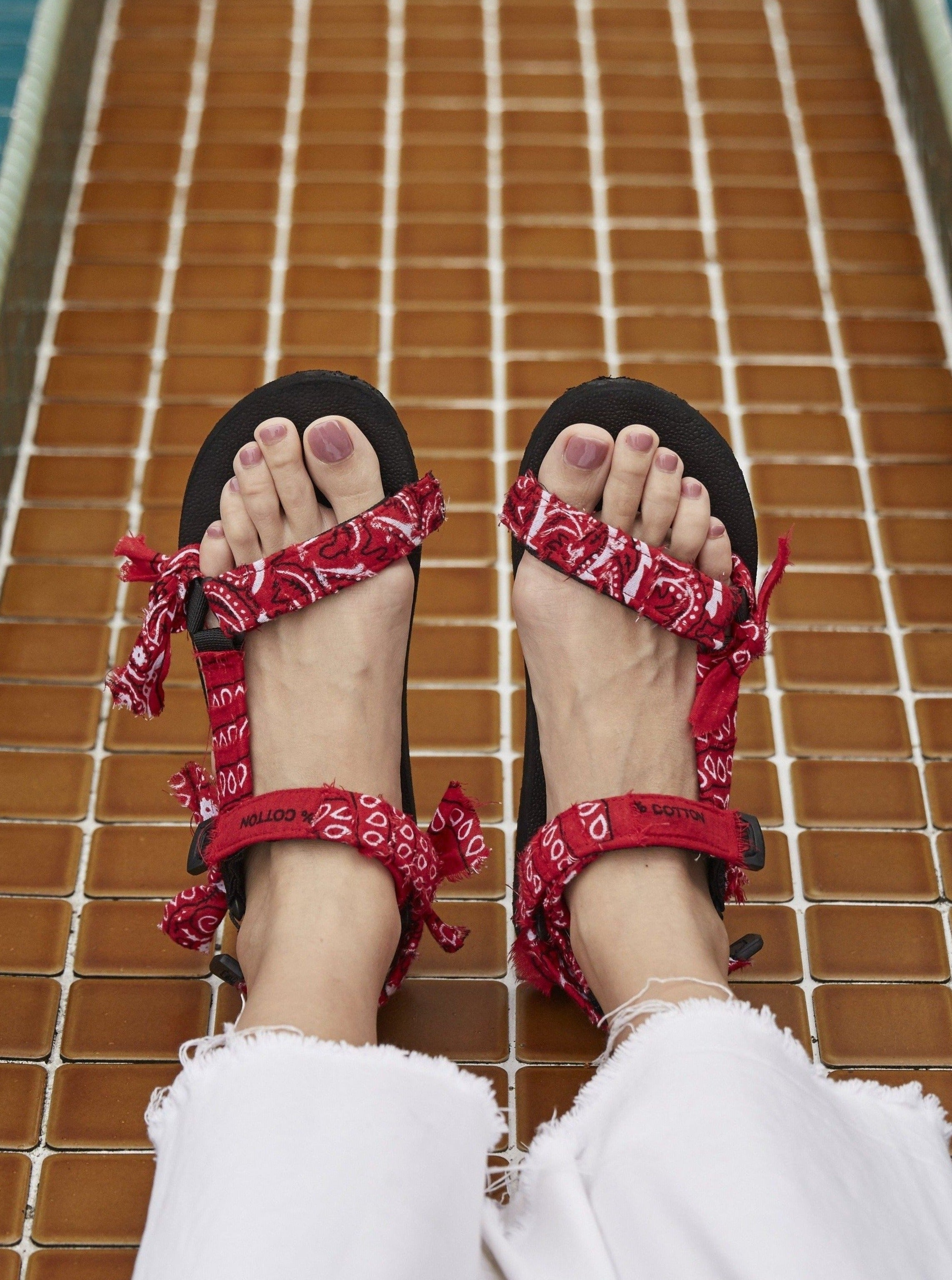 JaeDals, Sandals, Made in Singapore, Red Bandana, Give back, shoes, twinning sandals, twinning