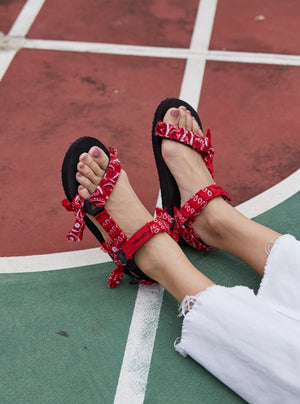 Open image in slideshow, JaeDals, Sandals, Made in Singapore, Red Bandana, Give back, shoes, twinning sandals, twinning, kids sandals
