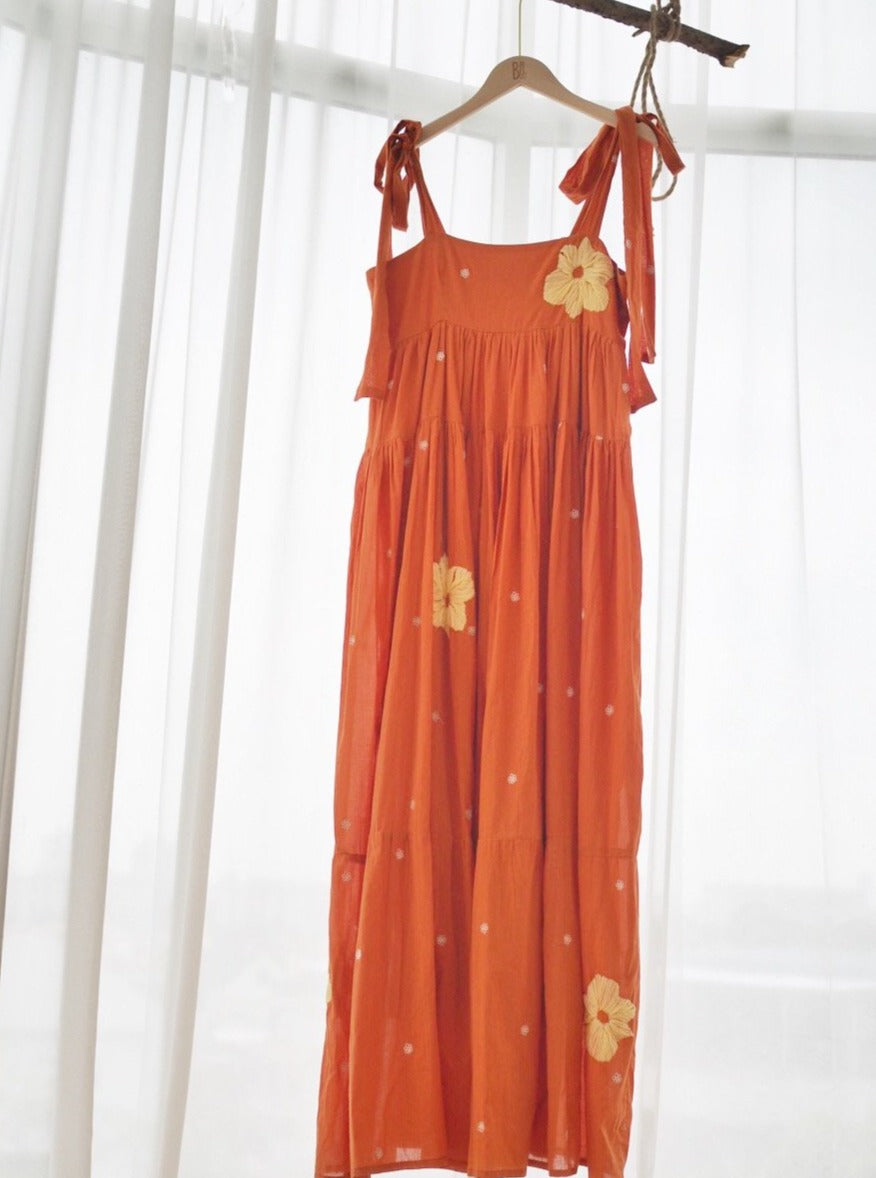 maxi dress, shopbaebeeboo, baebeeboo, local fashion, resort wear, resort dress, embroidery, orange, long dress, give back, made in india
