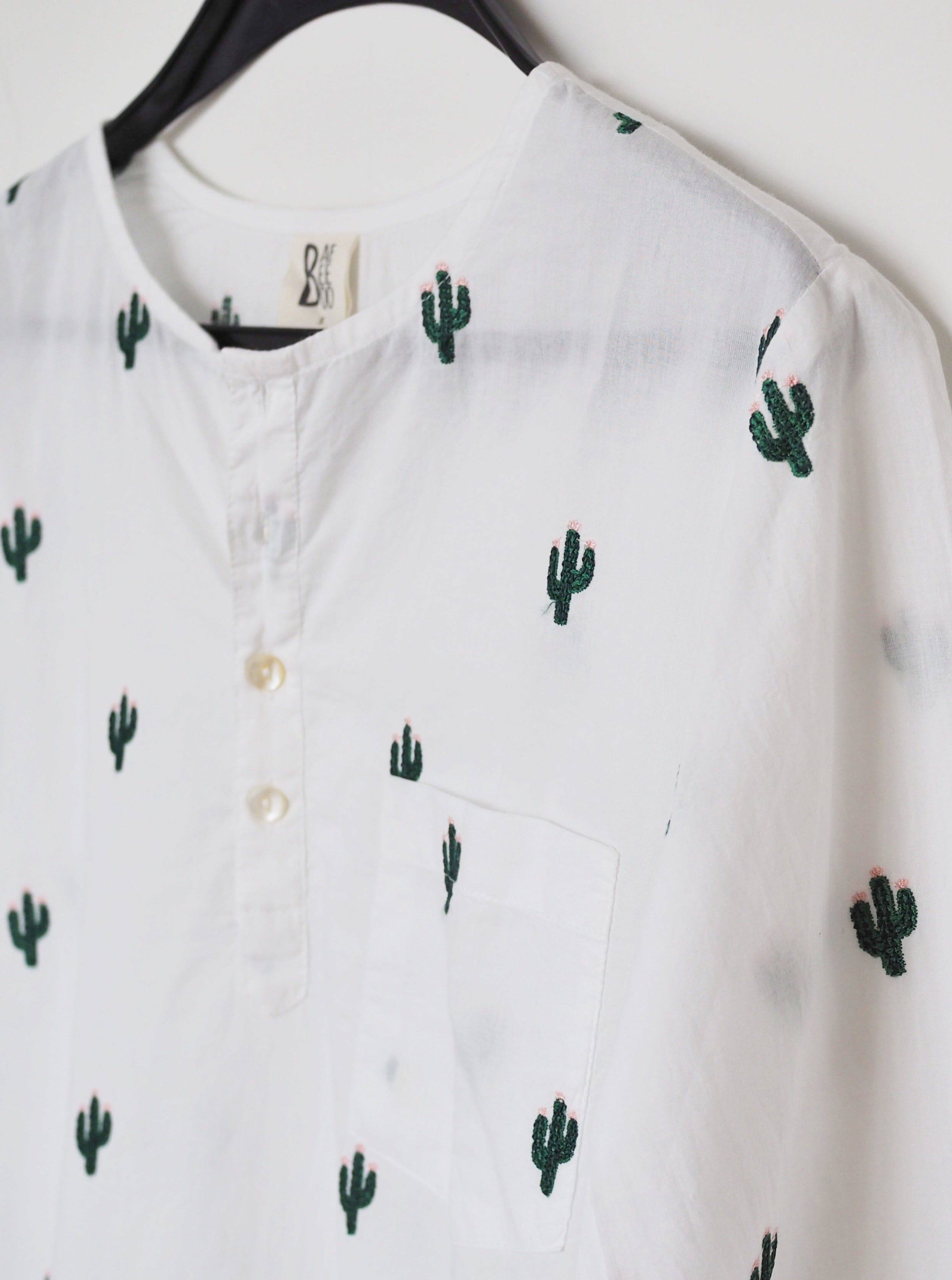 cotton shirt, shirt, men's shirt, cactus, cactus shirt, embroidery, give back, twinning, father and son, mother and daughter, cotton shirt, made in india, baebeeboo