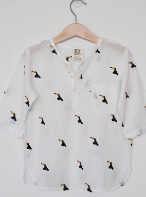 cotton shirt, shirt, men's shirt, Toucan, toucan shirt, embroidery, give back, twinning, father and son, mother and daughter, cotton shirt, made in india, baebeeboo