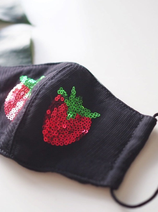 Shiny Strawberry Black Face Mask: Pre-Order