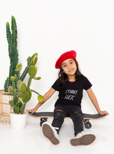 baebeeboo, sustainable, straw suck, black, tee, kids wear, kidswear, children, t-shirt, tees, give back, sustainability, the sustainability project, social conscious, kids, kids fashion, cotton, straws suck, boo-tee-ful