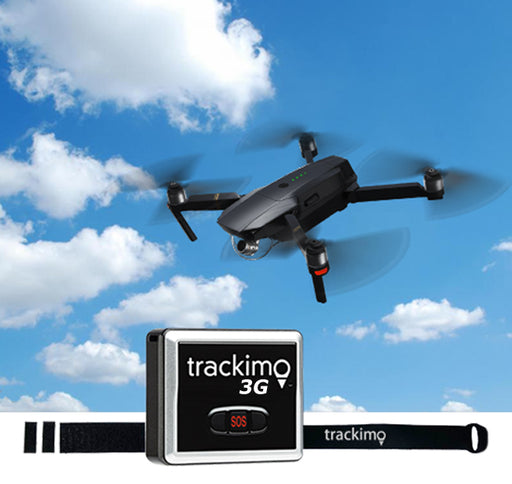 3G TrackimoDrone, GPS+SIM+Wi-Fi+Bluethooth+Ping + Velcro Drone Attachment.