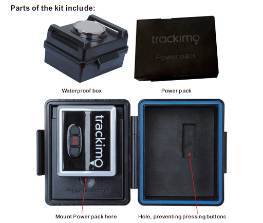 Trackimo - Waterproof Magnetic Box for GPS Trackers + 3500mAh battery