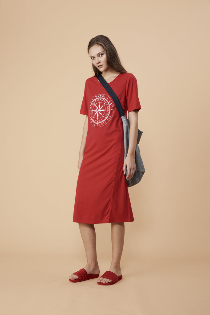 COMPASS LOGO DRESS - RED