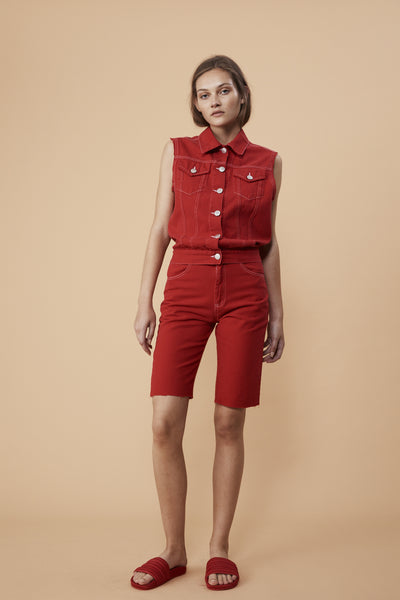 CRUISE VEST - RED DENIM