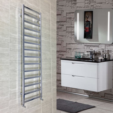 500mm Wide Square Tube Designer Heated Bathroom Towel Rail Radiator Chrome 1700 x 500