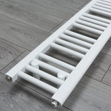 250mm x 1200mm White Heated Towel Rail Radiator Close Up Image