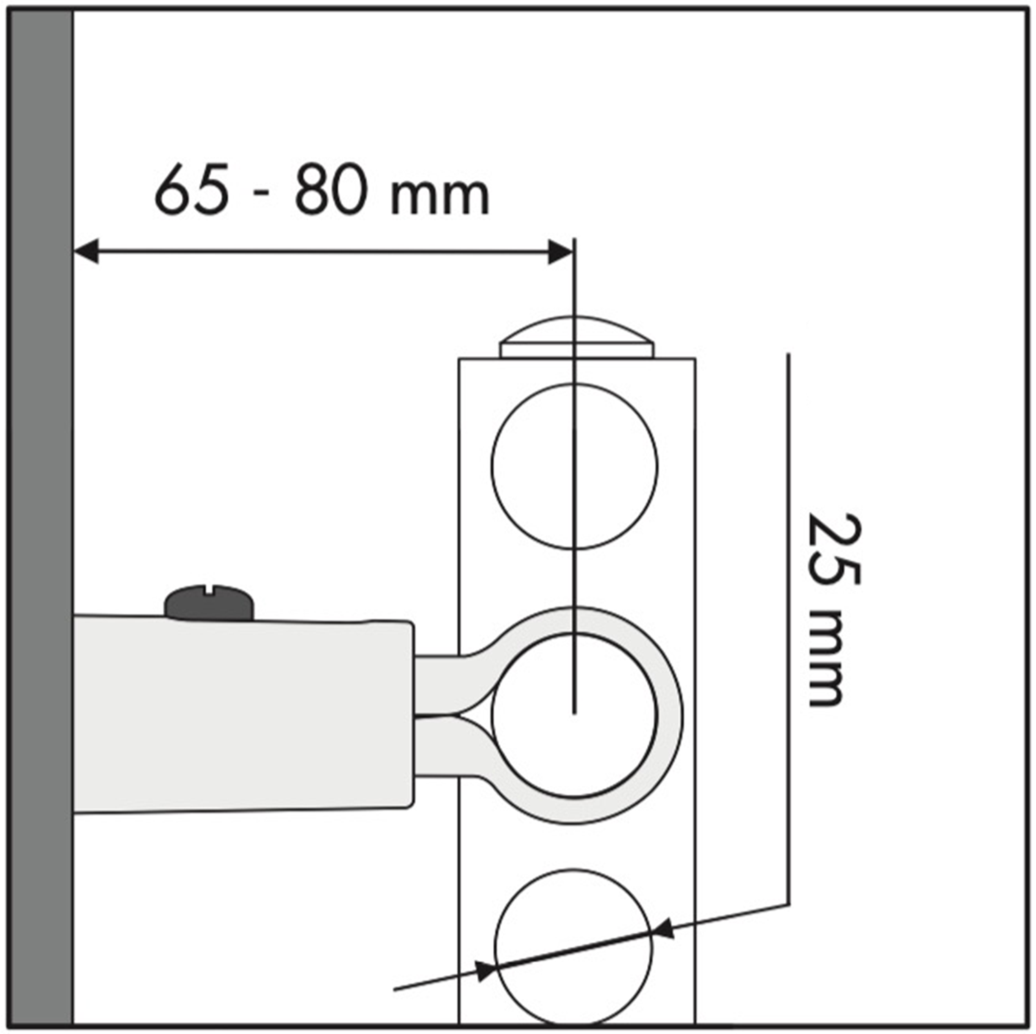 Clamp Towel Rail Bracket Wall Projection Diagram