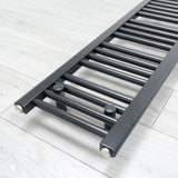 300mm x 800mm Black Heated Towel Rail Radiator Close Up Image