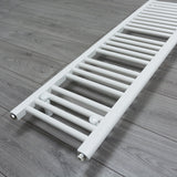 300mm x 1400mm White Heated Towel Rail Radiator Close Up Image