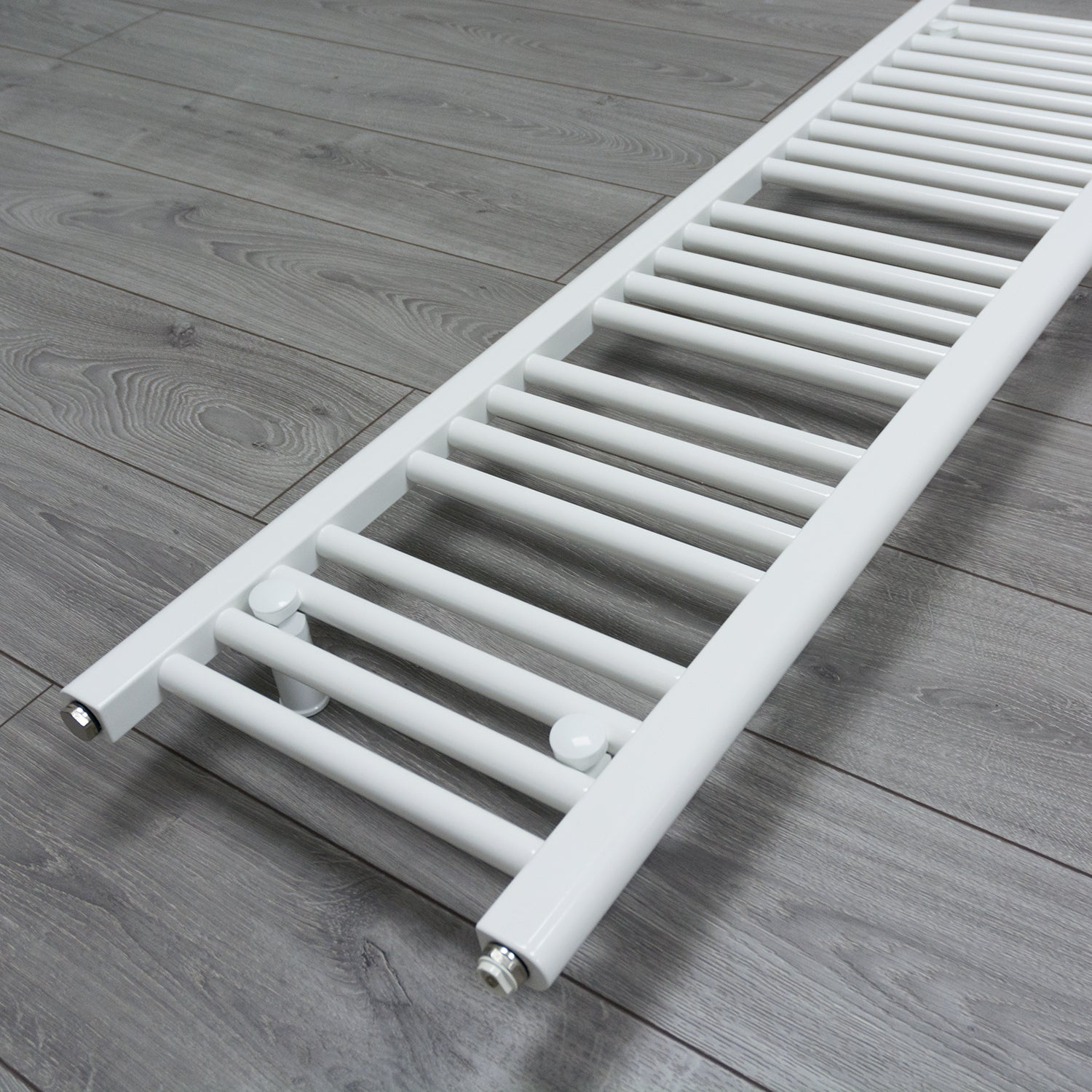 300mm x 1800mm White Heated Towel Rail Radiator Close Up Image