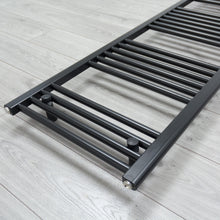 Load image into Gallery viewer, 450mm x 1600mm Black Heated Towel Rail Radiator Close Up Image