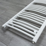 500mm x 1100mm White Heated Towel Rail Radiator Close Up Image