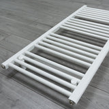 650mm x 1200mm White Heated Towel Rail Radiator Close Up Image