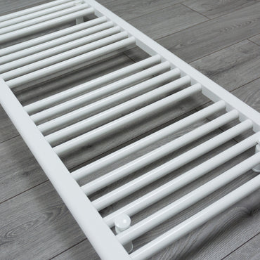 1100 mm High 400 mm Wide White Pre-Filled Electric Heated Towel Rail Radiator Straight or Curved