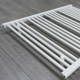 850mm x 800mm White Heated Towel Rail Radiator Close Up Image
