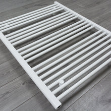 Load image into Gallery viewer, Heated White Towel Warmer Rack Close Up Image