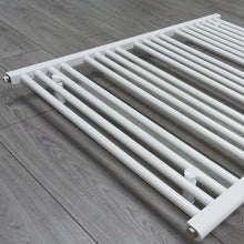Load image into Gallery viewer, 900mm x 400mm White Heated Towel Rail Radiator Close Up Image