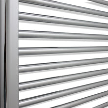 Load image into Gallery viewer, Heated Chrome Towel Warmer Rack Close Up Image