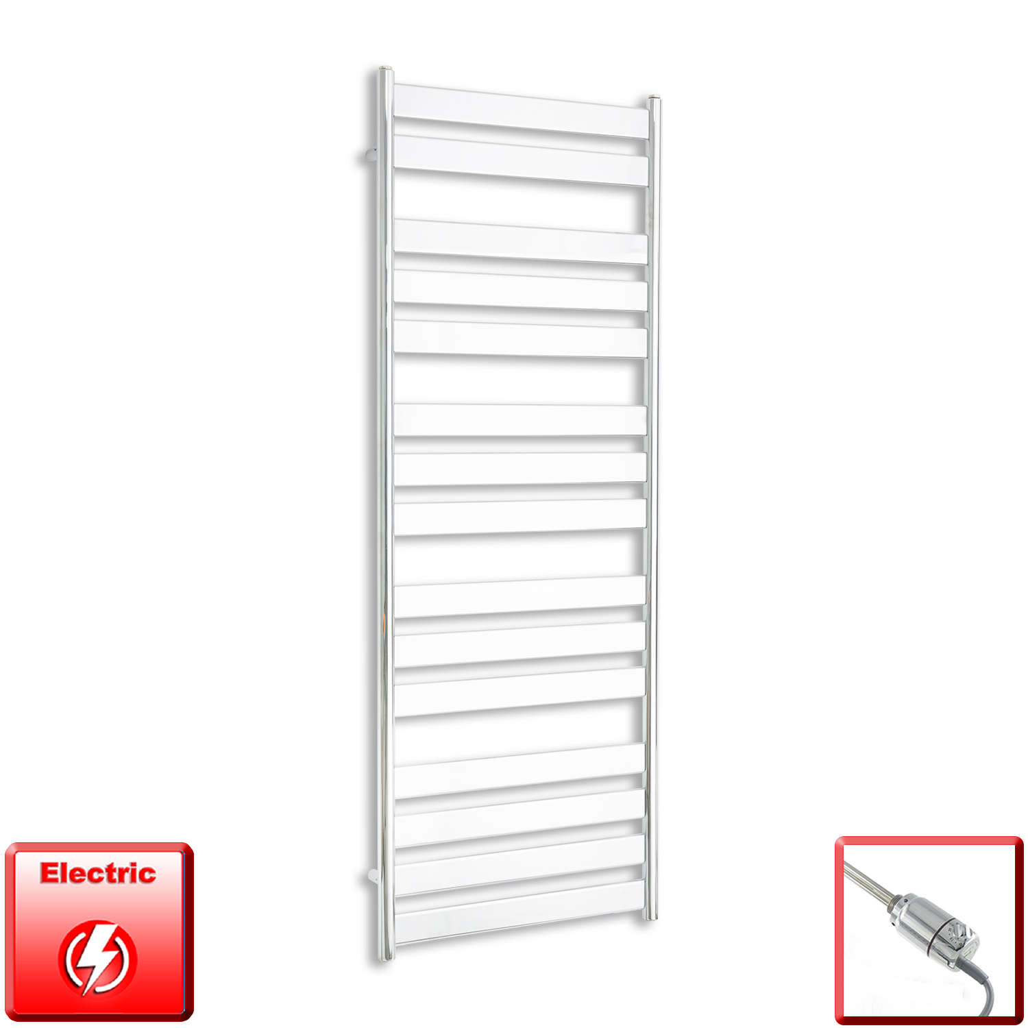 600mm Wide 1600mm High Pre-Filled Chrome Electric Towel Rail Radiator With Thermostatic GT Element
