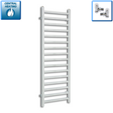 500mm Wide 1400mm High Chrome Towel Rail Radiator With Straight Valve