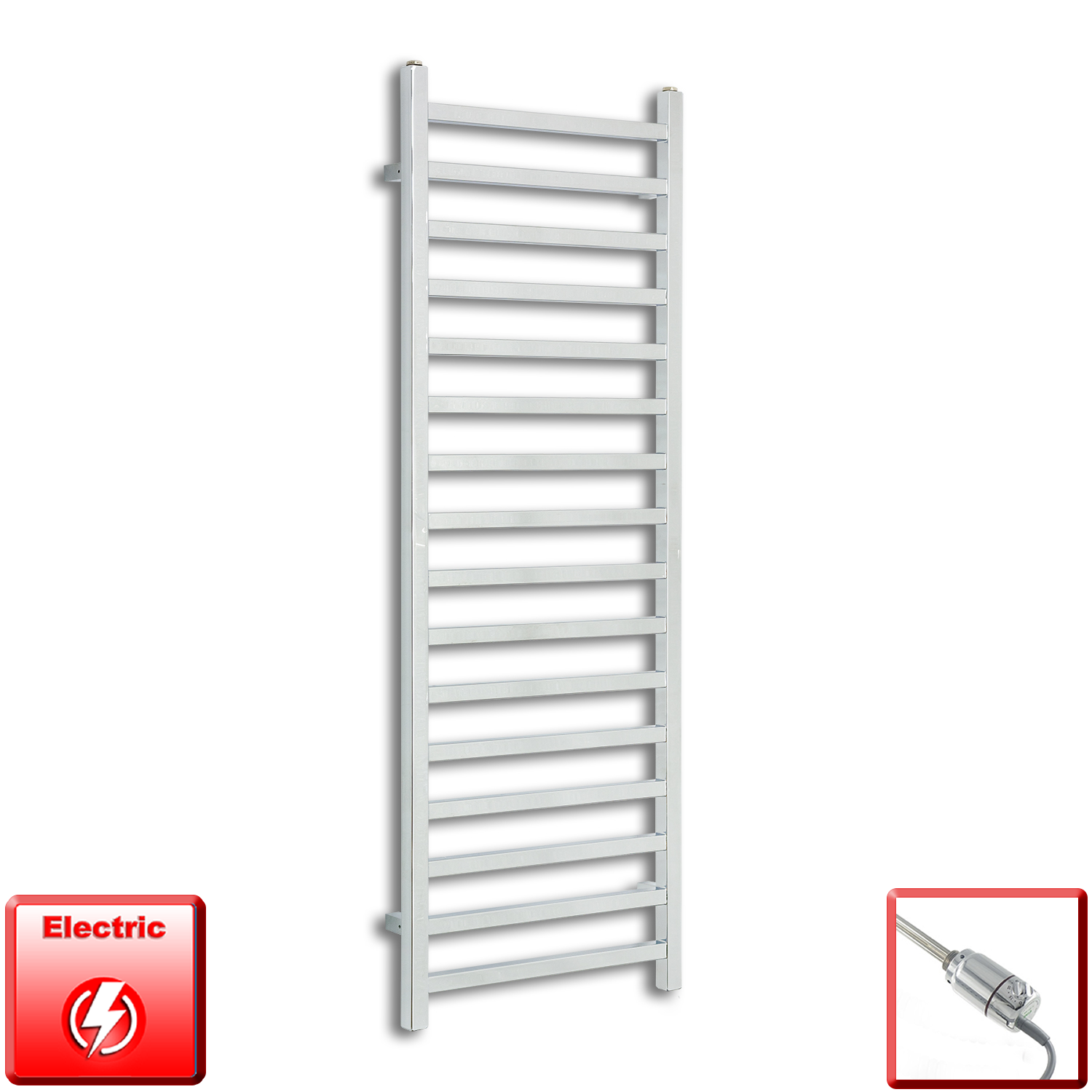 500mm Wide 1400mm High Pre-Filled Chrome Electric Towel Rail Radiator With Thermostatic GT Element