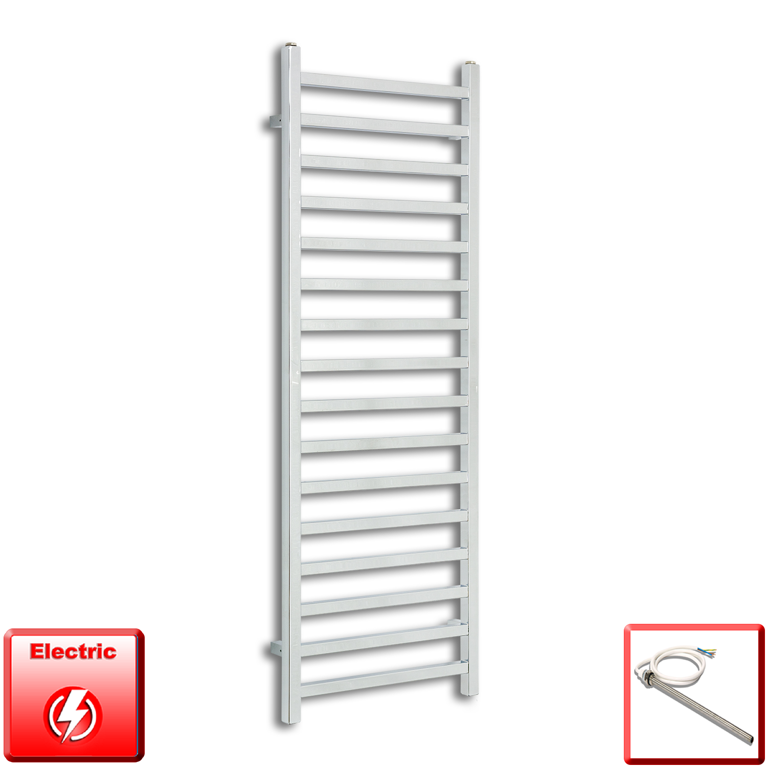 500mm Wide 1400mm High Pre-Filled Chrome Electric Towel Rail Radiator With Single Heat Element