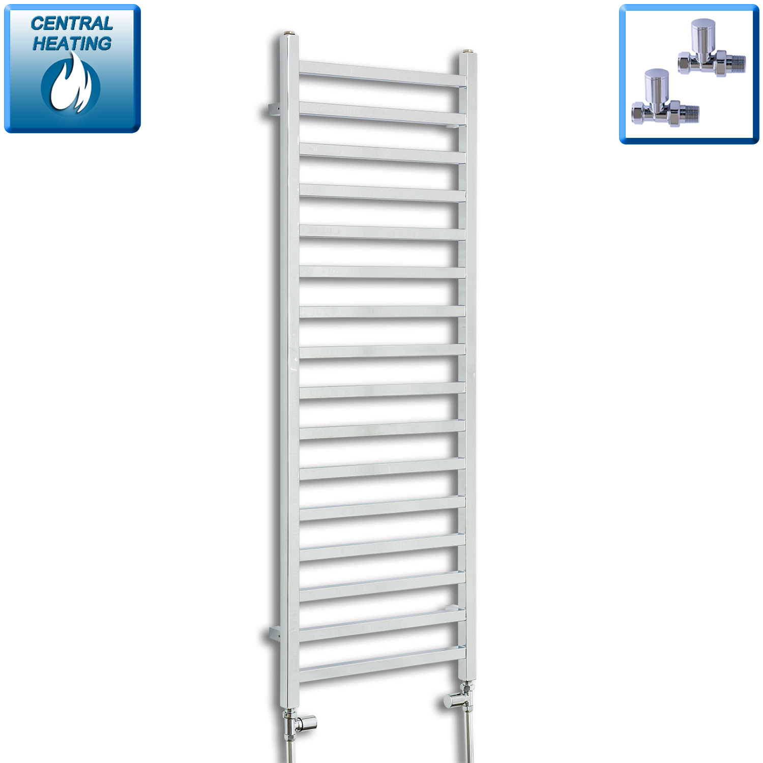 500mm Wide 1400mm High Chrome Towel Rail Radiator With Angled Valve