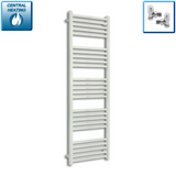 500mm Wide 1500mm High Chrome Towel Rail Radiator With Angled Valve