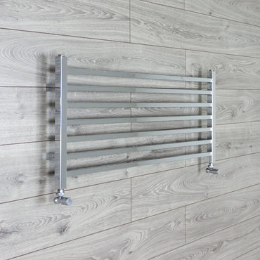450mm High x 1000mm Wide Chrome Square Tube Heated Towel Rail Bathroom Radiator angled valves