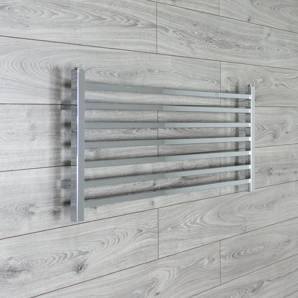 300mm Wide Black Designer Electric Heated Towel Rail: 450mm High X 1000mm Wide Chrome Square Tube Heated Towel