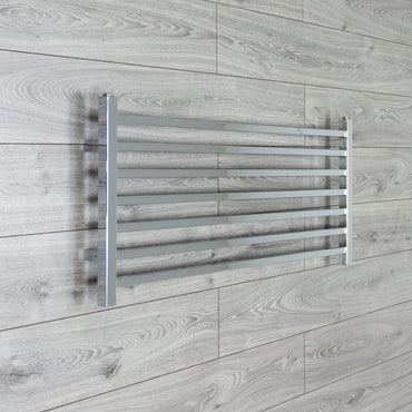 450mm High x 1000mm Wide Chrome Square Tube Heated Towel Rail Bathroom Radiator