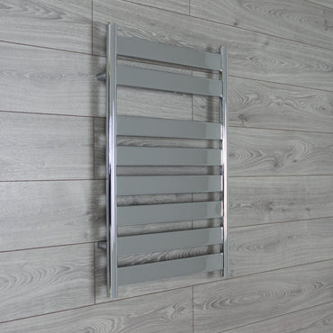 500mm Wide Flat Panel Heated Towel Rail Bathroom Radiator- Chrome 800 x 500