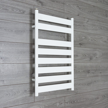 500mm Wide Flat Panel Heated Towel Rail Bathroom Radiator- White 800 x 500