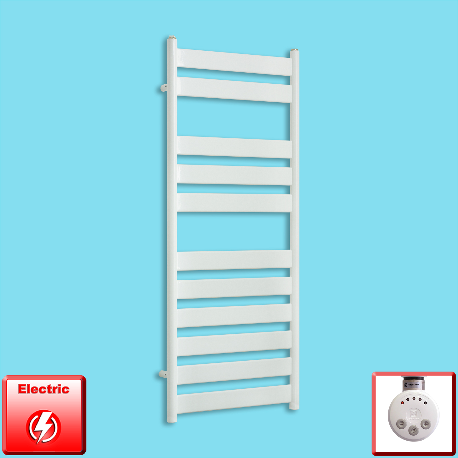 500mm Wide 1200mm High Pre-Filled White Electric Towel Rail Radiator With Thermostatic MEG Element