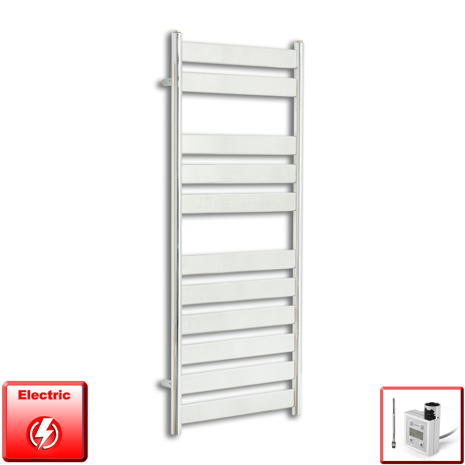 500mm Wide 1200mm High Pre-Filled Chrome Electric Towel Rail Radiator With Thermostatic KTX3 Element