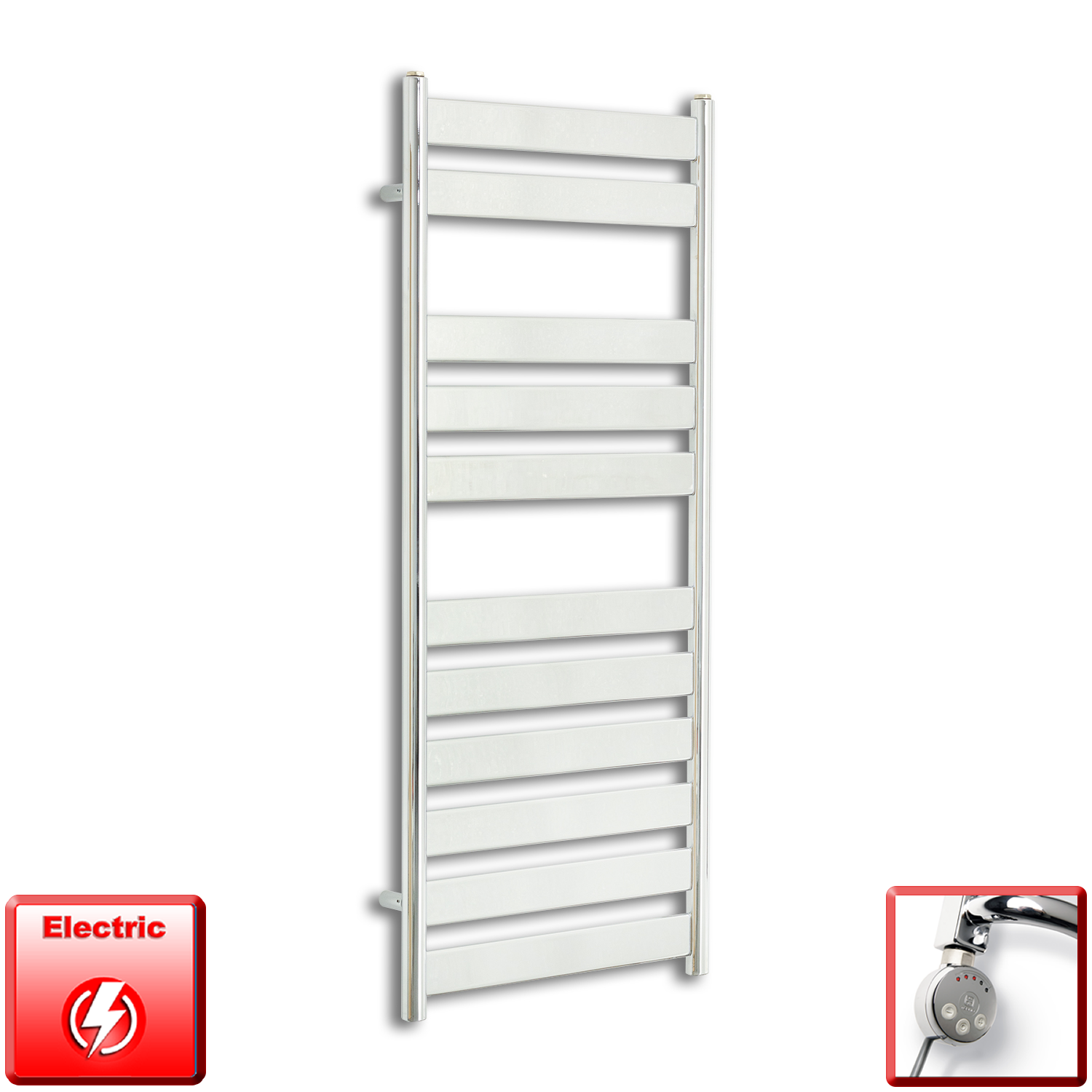 500mm Wide 1200mm High Pre-Filled Chrome Electric Towel Rail Radiator With Thermostatic MEG Element