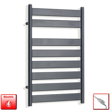 800 x 500 mm Anthracite Heated Flat Panel Towel Rail Radiator Central heating or Electric pre-filled thermostatic element