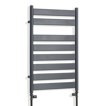 800 x 500 mm Anthracite Heated Flat Panel Towel Rail Radiator Central heating or Electric straight valves
