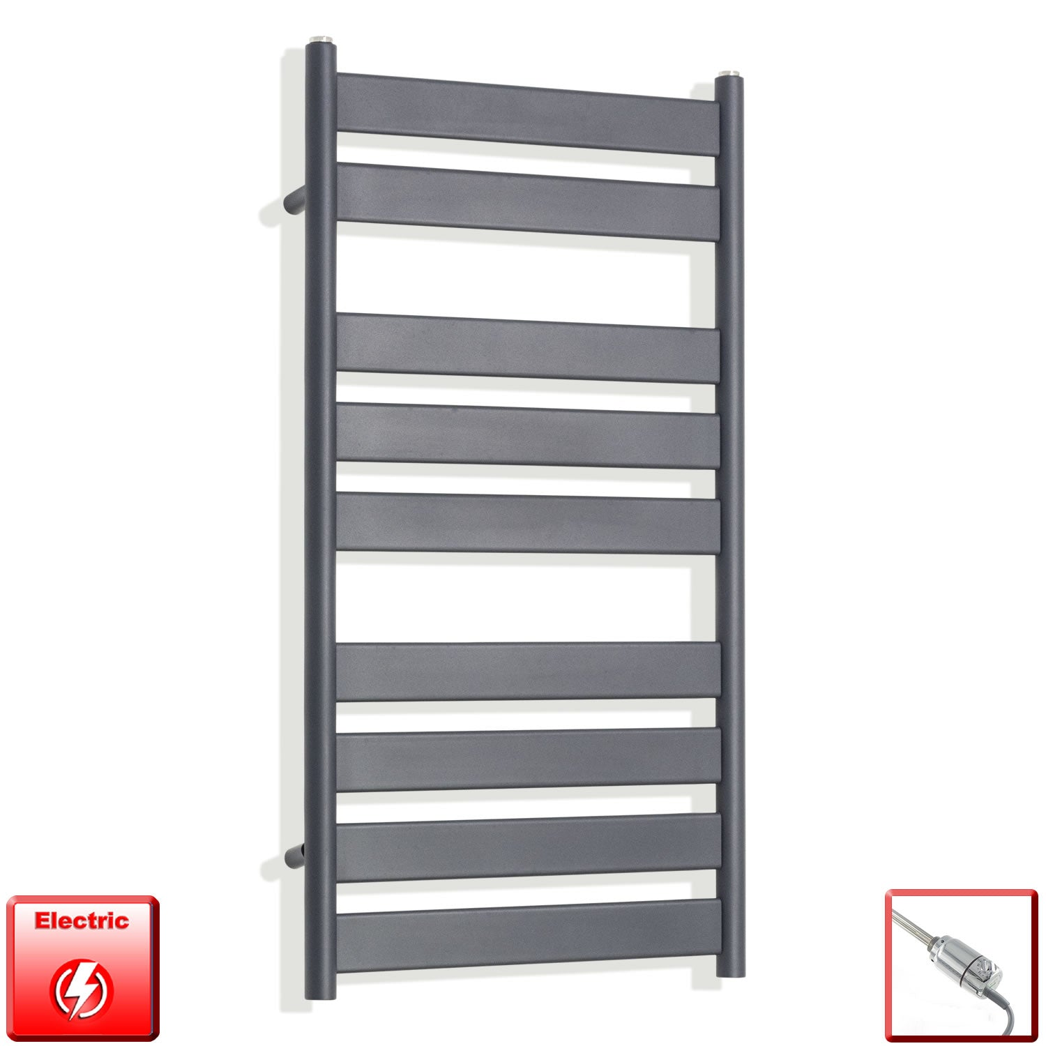 950 x 500 mm Anthracite Heated Flat Panel Towel Rail Radiator Electric pref-filled with thermostatic element