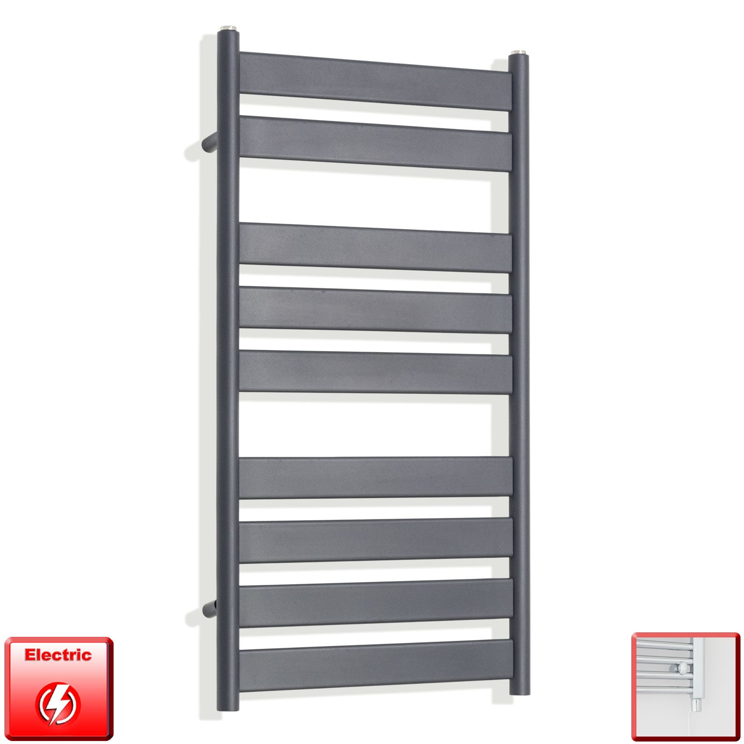 950 x 500 mm Anthracite Heated Flat Panel Towel Rail Radiator Electric pre-filled single heat element