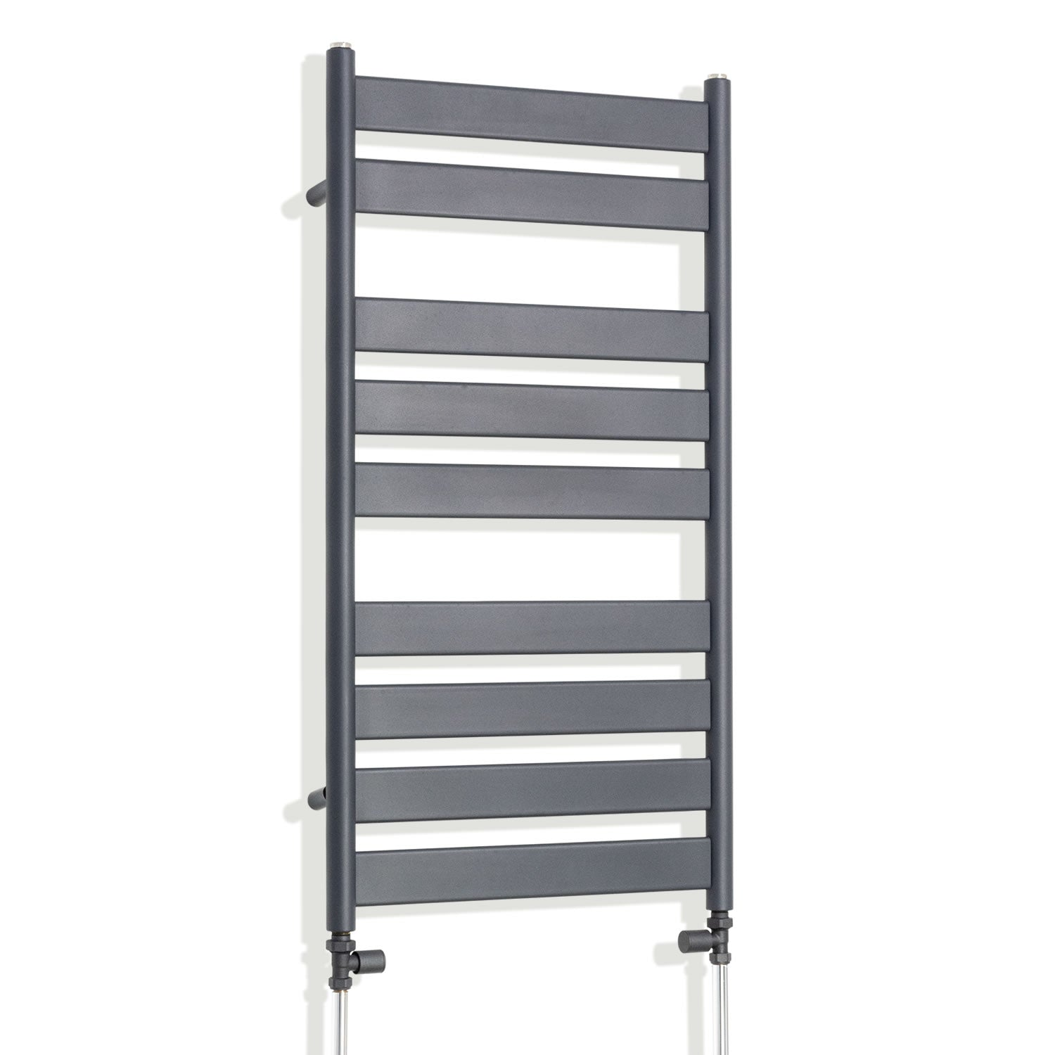 950 x 500 mm Anthracite Heated Flat Panel Towel Rail Radiator Central heating with straight valves