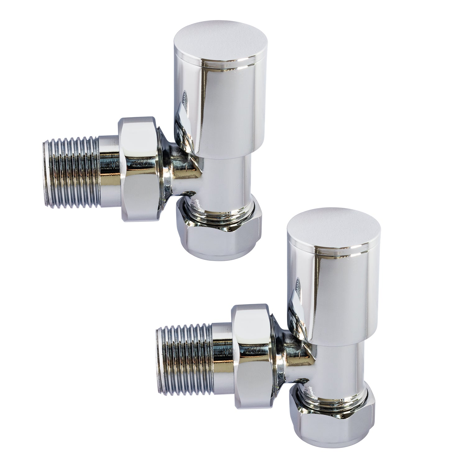 Chrome Plated Angled Valve for Heated Towel Rail Radiator Pair - Elegant Radiators