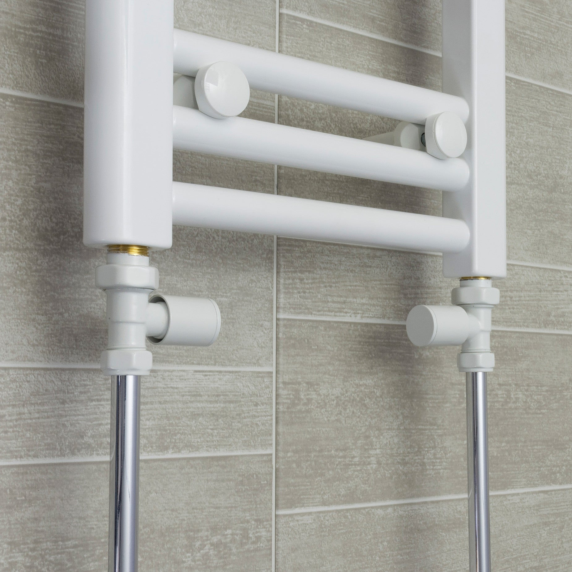 700mm Wide 1700mm High White Towel Rail Radiator With Straight Valve