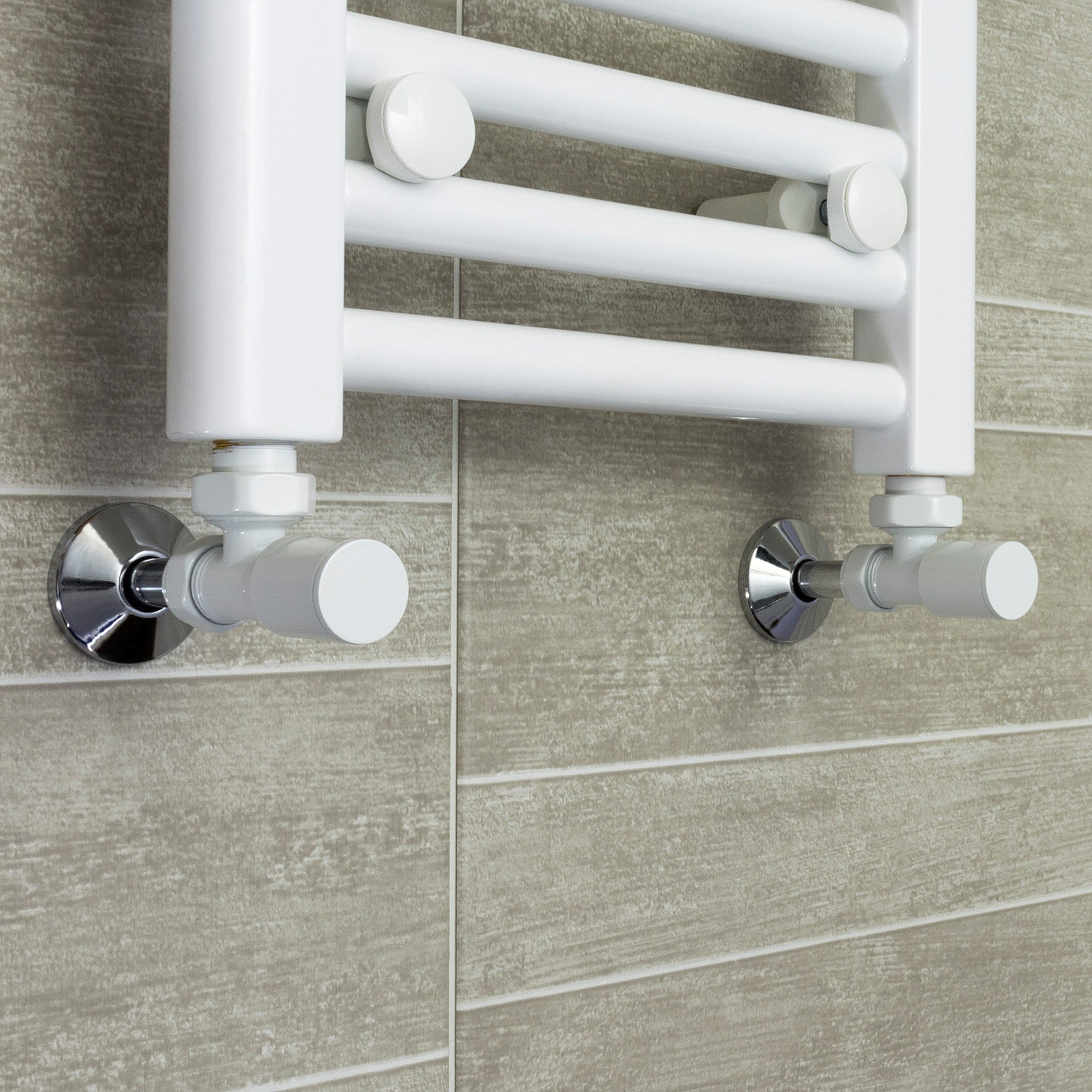 700mm Wide 1700mm High White Towel Rail Radiator With Angled Valve